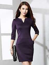 Women's Solid Red/Black/Purple Dress , Sexy V Neck