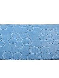 Embossed Floral Bath Rug, Solid, Latex Backing