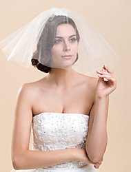 Two Tier Blusher Wedding Veil With Flower(More Colors)