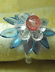 Multy Layer Crystal Blue Flowe Napkin Ring, Acrylic Beades, 3.5CM, Set of 12,