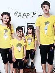 Family's Lovely Carton Person Print Short Sleeve T-shirt(Picture Random)