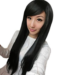 Women Fashion Straight Synthetic Black Side Bang Wig Heat Resistant Fiber Cheap Cosplay Party Wig Hair