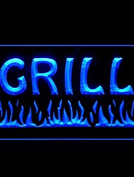Grill Food Fire Green Blue Red White Orange Purple Yellow Advertising LED Light Sign