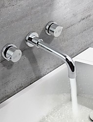 HPB® Wall Mounted Two Handles Three Holes in Chrome Bathroom Sink Faucet