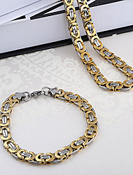 WesternRain Men's Dubai's style vintage-inspired Stainless Steel necklace bracelet