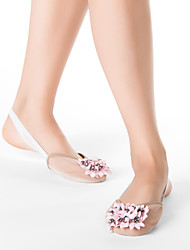 Fabric Half Ballet Slipper With Pink Flowers & Suede Leather Out Sole
