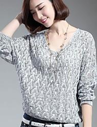 Women's V Neck Cutout Batwing Pullover Knitwear Sweater
