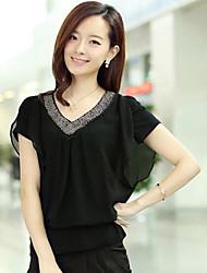 Women's Solid Red/Black/Green Shirt , Casual V Neck Short Sleeve Beaded