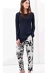 Yinbo estilo chino del patrón de impresión Casual Pantalones Largos