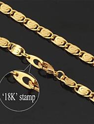 u7® oro lleno grueso collar de cadena de los hombres de la vendimia 18k figaro para los hombres 6mm 22inches 55cm