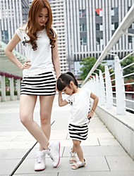 Family's Fashion Contracted Mother Daughter Stripe Short T Short Skirt Clothing Sets