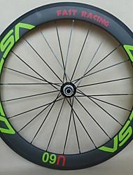 700C Green New UDELSA 25mm Wide Carbon Wheels Tubular 60mm Deep Cheap Road Bike Wheelset