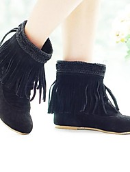 Women's Fall Winter Fashion Boots Suede Dress Wedge Heel Tassel Black Brown Beige
