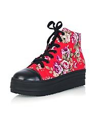 sanjin Leinwand Frauen Plattform Ferse runde Kappe Mode Turnschuhe Schuhe (weitere Farben)