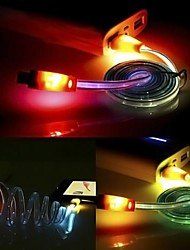 1M LED Улыбка лица USB Освещение Кабель заряжателя Sync данных для Samsung HTC Andriod телефонов (случайный цвет)