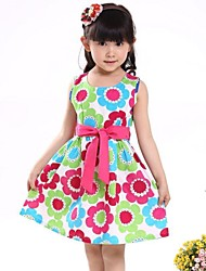Girl's Green Dress,Floral Organic Cotton Summer