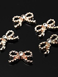 10pcs Glitter Copper Tone Diamante Rhinestone Bowtie 3D Alloy Nail Art Decoration