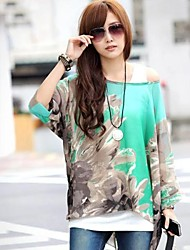 Women's Print Shirt , Slash Neck Short Sleeve