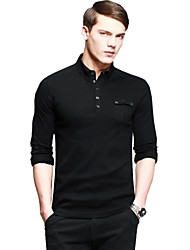 Kuegou®  Men's Lapel Relaxation Joint Long Sleeve  Slim Fit T-shirt