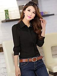 Women's Solid White/Black Blouse , Shirt Collar Long Sleeve