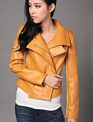Women's Double Lapel PU Leather Jacket Coat