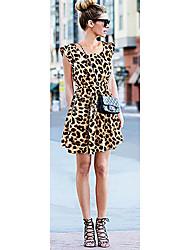 Vestido de leopardo cuello redondo de la Mujer Xinying