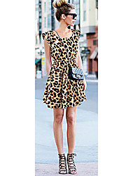Xinying Женская шею Leopard платье