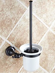 Toilet Brush Holder Oil Rubbed Bronze Wall Mounted 390 x 83 x 66mm (15.35 x 3.26 x 2.59inch) Brass / Ceramic Antique