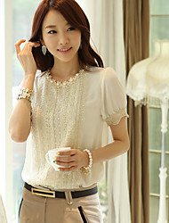 Hanyiou Round Collar Short Sleeve Beads Lace Shirt