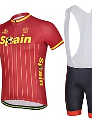 De Ferrand Hommes Espagne Spring et Summer Style Coolmax Polyester manches courtes Paded Cyclisme Vélo Suit avec la ceinture