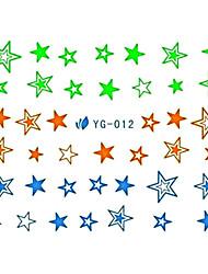 2 piezas de diseño de la estrella del arte del clavo fluorescente Watermark Pegatinas YG-012