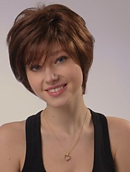 Capless kort bruna vågiga 100% människohår peruker