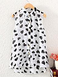 Women's Print White/Black Blouse , Shirt Collar Sleeveless