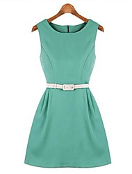 Women's Solid Blue/Green Dress , Vintage/Bodycon/Party Round Neck Sleeveless Ruched