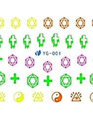 yemannvyou®2pcs ocho diagramas de diseño de uñas pegatinas arte de marca de agua fluorescente YG-001