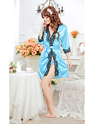 SexyMore Long Sleeve Lace Sheer Blue Cardigan Sexy Lingerie
