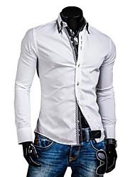 à double patte de col chèque de mode de couleur contrastante manches longues occasionnels shirt du o de lesen hommes