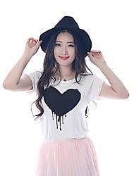 Damen Druck Einfach Lässig/Alltäglich T-shirt Sommer Kurzarm Weiß Baumwolle Undurchsichtig