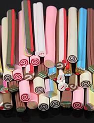 Patrón de la torta 50pcs etiqueta vara vara de caña 3d color al azar de uñas decoración del arte