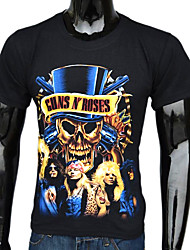 Rozen Gedrukte T-shirt Men's Black Cotton Guns N '