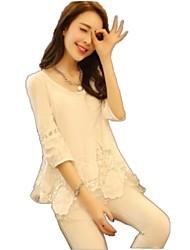 Modèle coréen dentelle élégant col rond en mousseline de soie chemise de JIANFANSU femmes