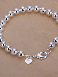 Classic Simple Women's  Hollow Buddha Beads Silver Plated Brass Chain & Link Bracelet(Silver)(1Pc)