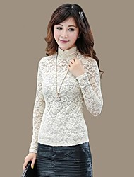 Women's Lace/Solid White/Black Blouse , Stand Long Sleeve Lace