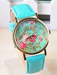 Timi Women's Flower Pattern PU Watch -W1240