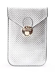 moda mini-couro pu caso moeda quilting carteira proteção telefone pursei das mulheres