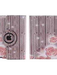 le grain du bois et une petite fleur rouge degré de pattern360 rotation étui en cuir PU avec support pour iPad 2/3/4