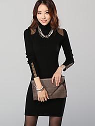 cuello alto vestido bodycon prendas de punto grueso hansifei elegante estilo coreano