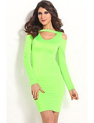 Women's Club Bodycon Dress,Solid Crew Neck Knee-length Long Sleeve Green Cotton / Polyester All Seasons