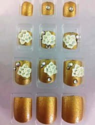 20PCS Golden Diamond&Flower Toenail Art Tips