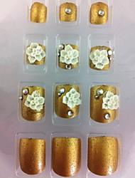 20pcs diamant or&bouts d'art de fleur d'ongle d'orteil